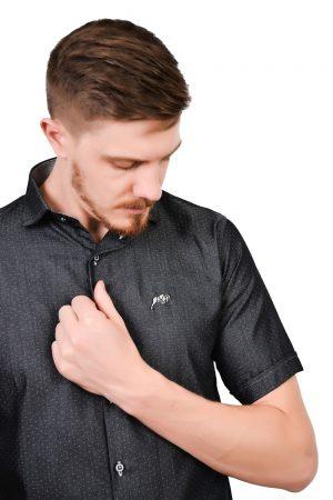 Camisa Manga Curta Argali Falklands Poá Cinza (detalhe)