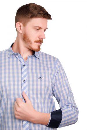 Camisa Argali Falklands Xadrez Azul (detalhe)