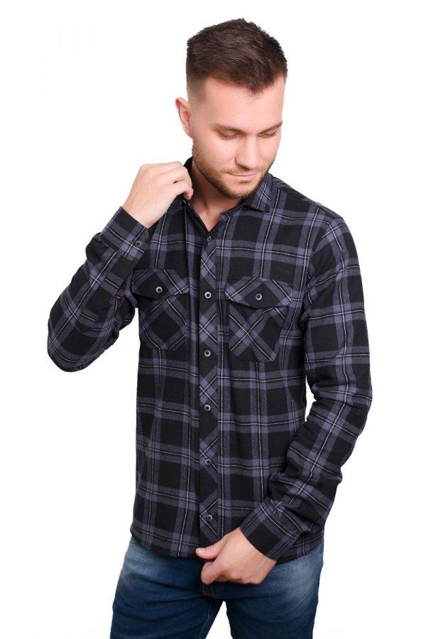 Camisa Argali Falklands Flanela - Xadrez Dark (lado)