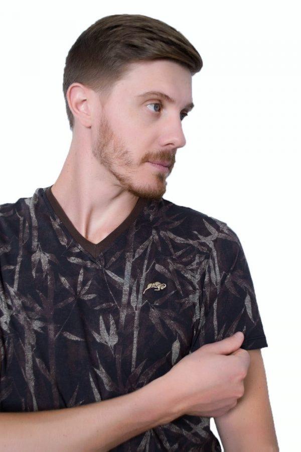 Camiseta Argali Prime Floral Autumn Marrom (detalhe)