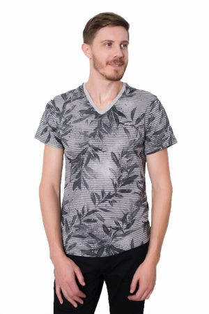 Camiseta Argali Prime Floral Cinza Mescla (frente)