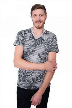 Camiseta Argali Prime Floral Cinza Mescla (lado)